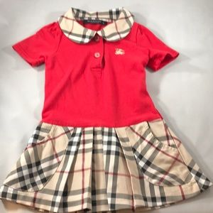 Girls toddler Burberry dress red check small